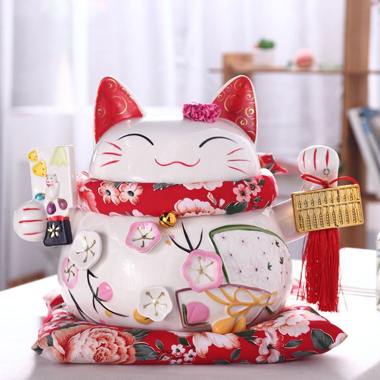 16寸陶瓷招财猫客厅店铺玄关摆件厂家直供创意生日礼品存钱罐扑满