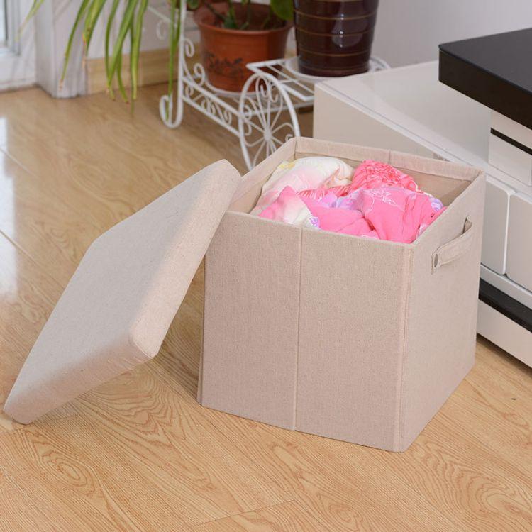 收纳凳子储物凳可坐成人沙发凳子家用布艺玩具收纳箱多功能换鞋凳
