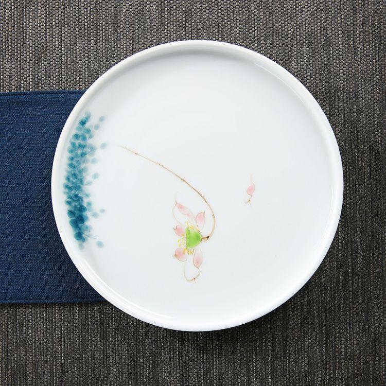 手绘陶瓷干泡茶盘日式创意壶承圆形简约家用小号茶台茶托功夫茶具