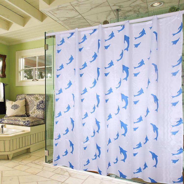防水防霉浴室浴帘盥洗室卫生间帘子浴帐海豚浴帘涤纶浴帘