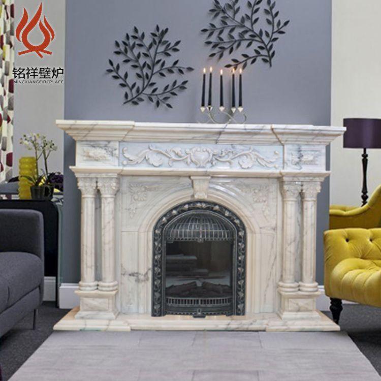 厂家直销精美雕花美式壁炉 节能安全仿真火焰电壁炉柜