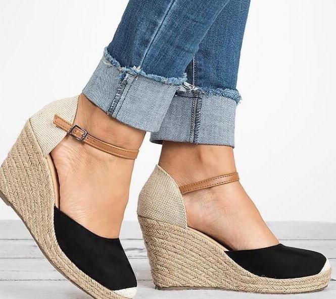 外贸夏季时尚坡跟高跟扣带拼色凉鞋女40-43Big yard sandals