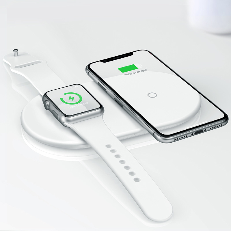 倍思 适用于苹果手机苹果手表 智能二合一无线充电器充电器