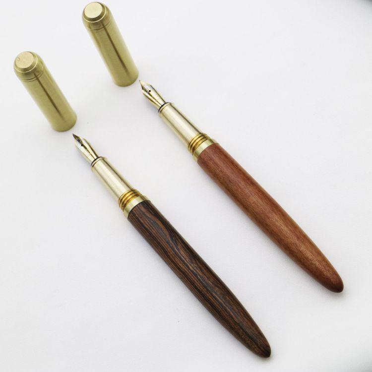 奢华木质钢笔 复古黄铜工艺花梨木檀木钢笔 高档商务礼品木头笔