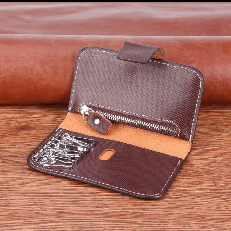 牛皮钥匙包 多功能真皮钥匙包带零钱位 拉链暗格卡位