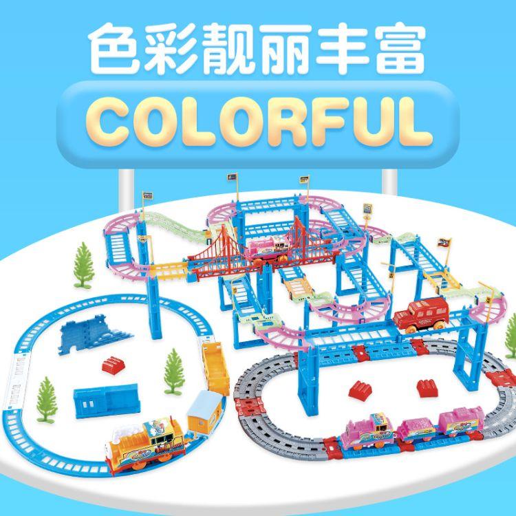 厂家直销趣味多层百变拼装双层电动托马斯小火车头玩具车3-6玩具