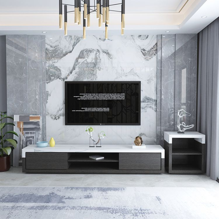北欧大理石茶几电视柜组合现代简约客厅黑白色套装小户型拒
