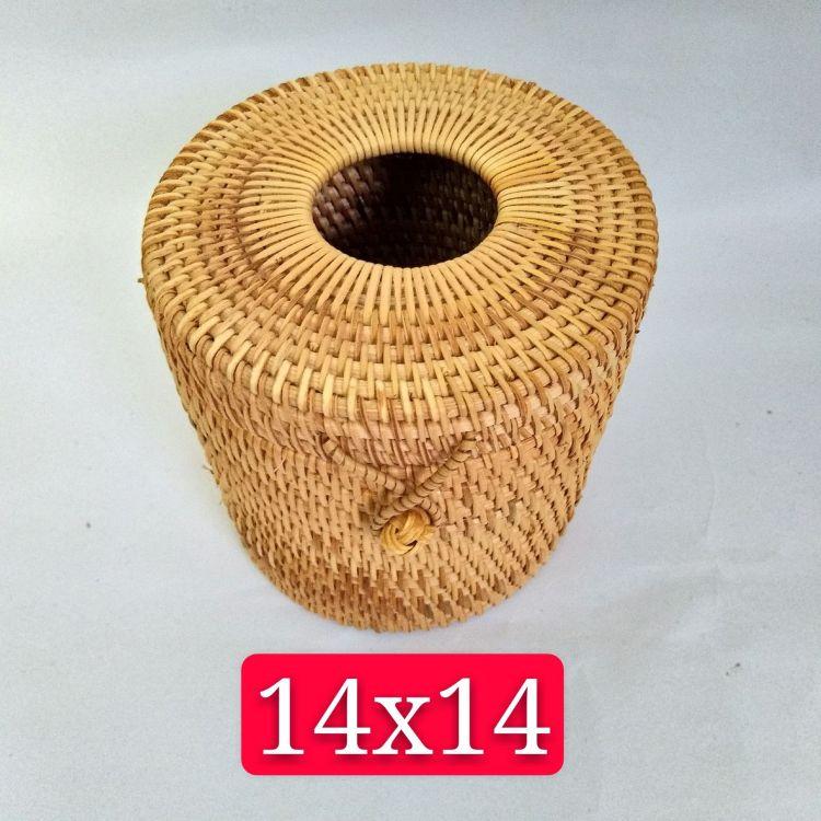 越南藤编纸巾盒 手工编织抽纸盒 客厅纸巾盒 圆筒纸盒