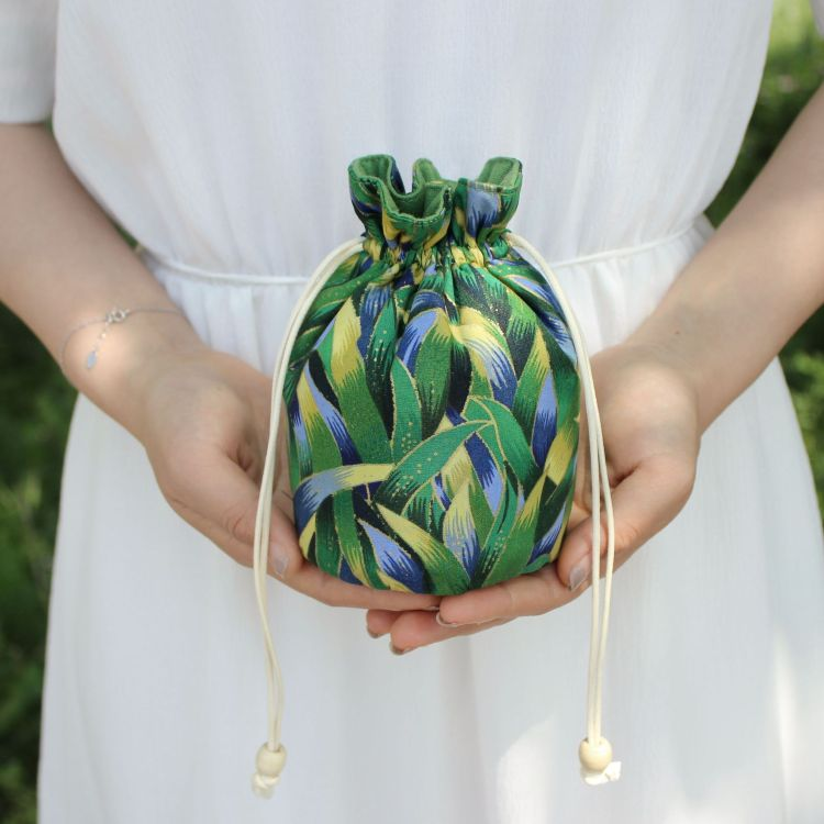 【钱丽】日式烫金和风饭盒袋 樱花圆底收纳包 零钱首饰袋