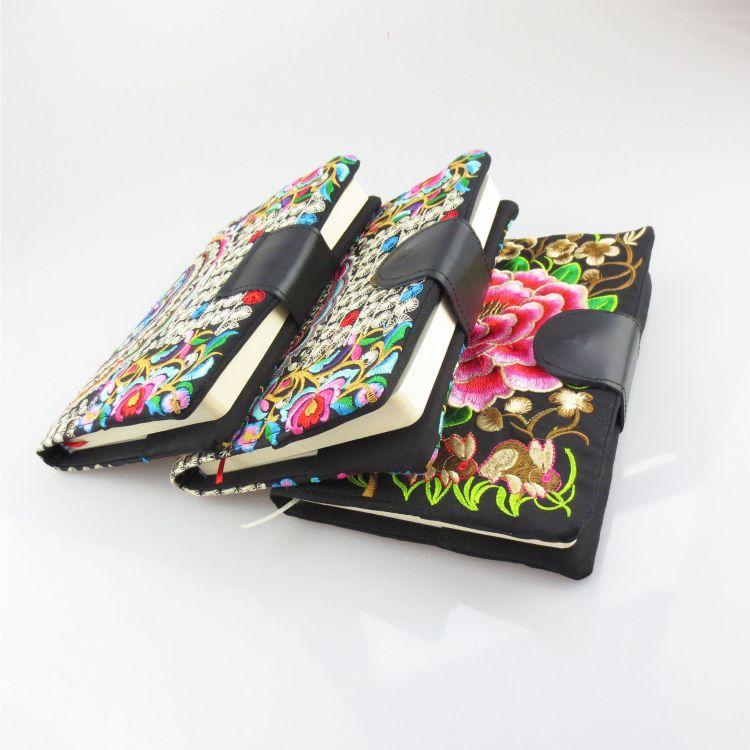 实用促销礼品定制中国风会议礼品纪念品民族风绣花笔记本厂家直销