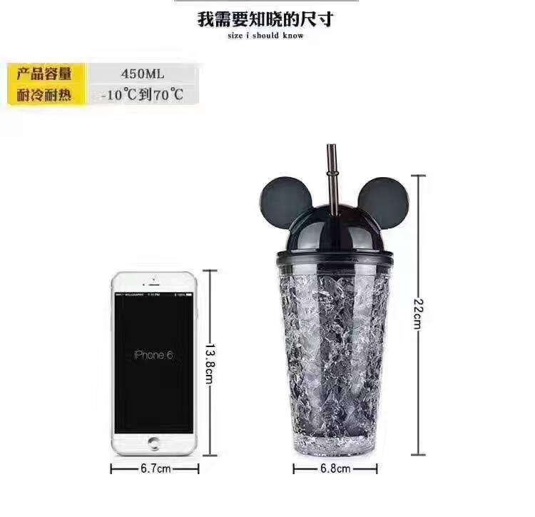 批发夏日米奇冰杯创意果汁学生吸管双层塑料水杯子冷饮冰杯