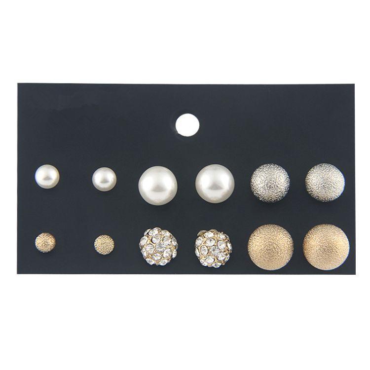 欧美跨境套装耳钉 女 金色合金圆球磨砂耳环珍珠满钻耳饰小饰品批
