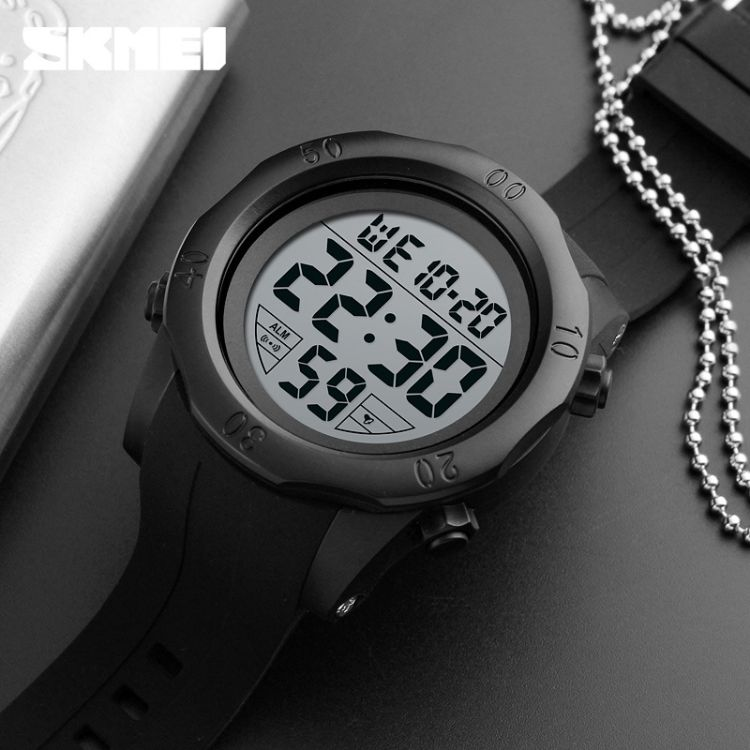 时刻美skmei多功能运动电子表户外男士手表防水表学生时尚电子表