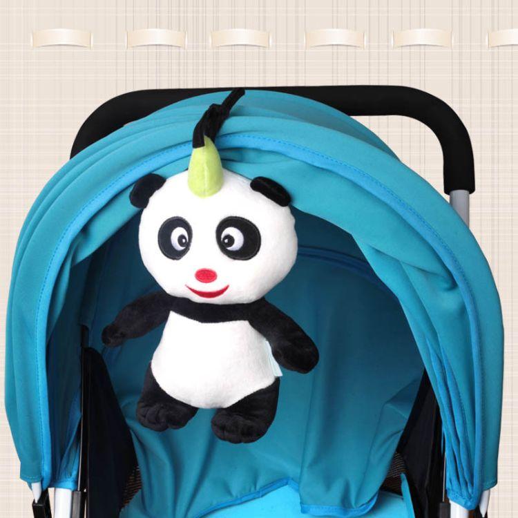 婴幼儿宝宝车挂玩具 小熊猫毛绒八音盒音乐拉铃 厂家直销可代发