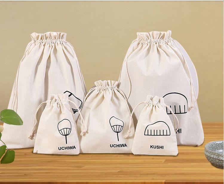 旅行收纳袋布艺束口袋 帆布抽绳袋抽拉式布袋子手提小布袋