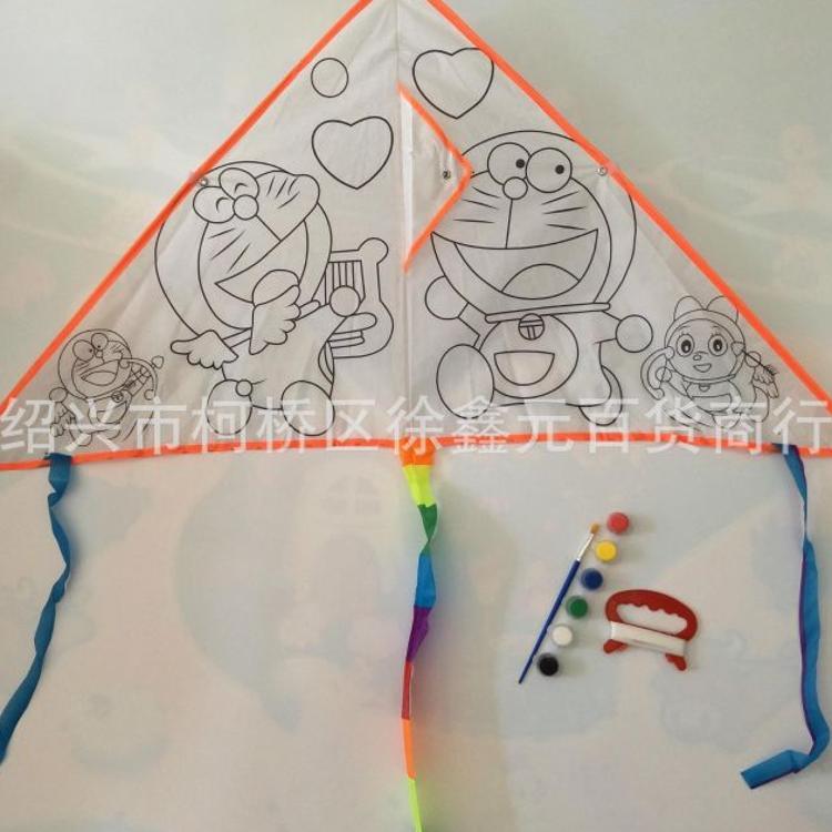 空白白色风筝diy制作涂鸦填色儿童手工绘画涂色自制材料包