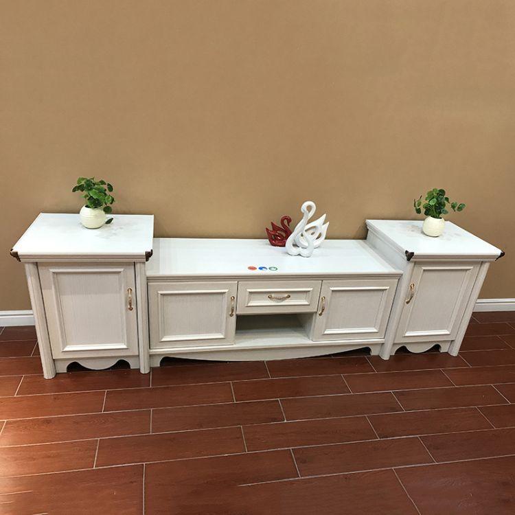 美式电视柜天使白现代简约客厅电视机柜茶几组合地柜