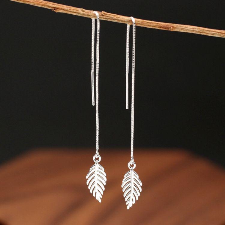 S925银甜美时尚韩国女耳饰女个性流苏长款树叶耳线耳环厂家批发