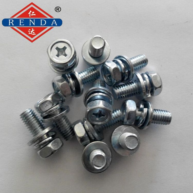 仁达生产销售 镀锌凹脑六角十字槽三组合螺栓 精密机械螺丝 电器螺丝