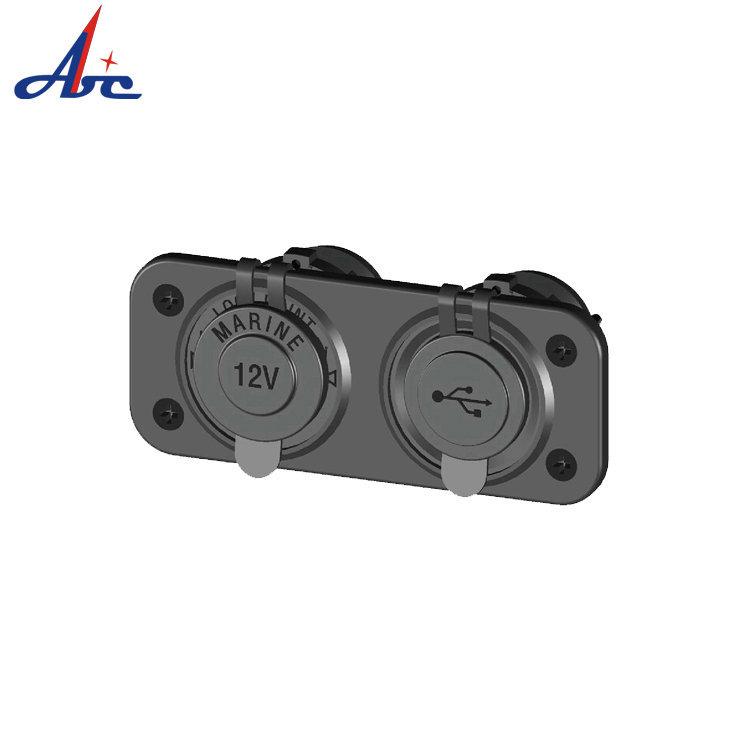 HS37 车载双孔USB充电器 电源取电器点烟器插座二合一组合