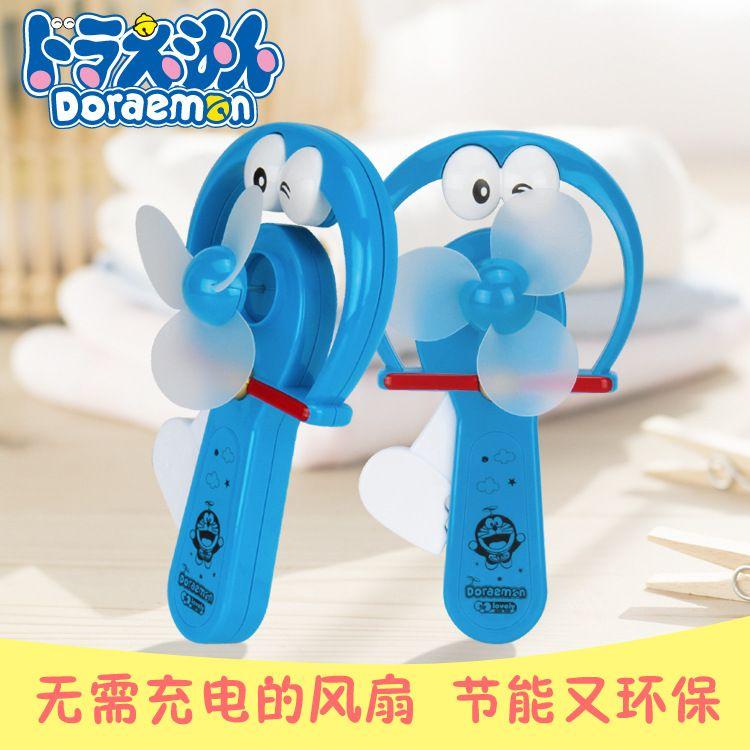 新款夏天手压手摇双扇头风扇 儿童卡通动物便携手持手动迷你风扇