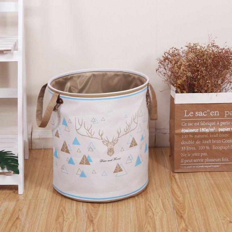 棉麻可水洗衣服玩具收纳筐 储物收纳箱 防水超大号脏衣桶厂家批发