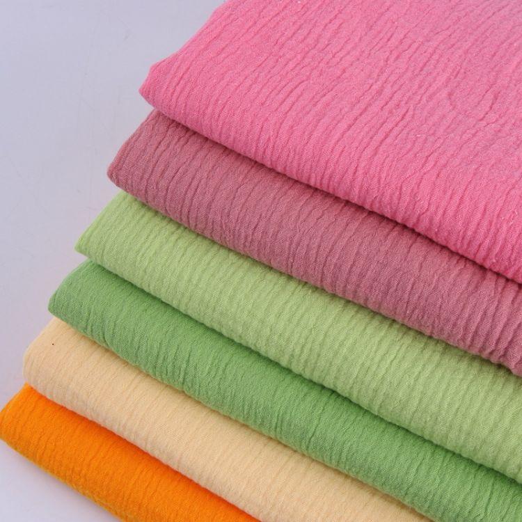 现货直销 全棉双层绉布染色高密色织面料婴幼儿服饰成人家居服