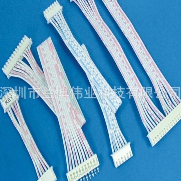 厂家直销排线加工XH2.54mm蓝白红白排线单双头端子连接端子线