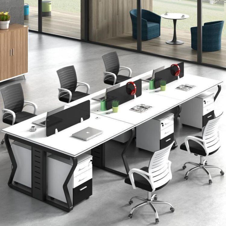 贵阳职员办公桌 简约现代4人位屏风隔断桌椅工作位员工桌办公家具厂家