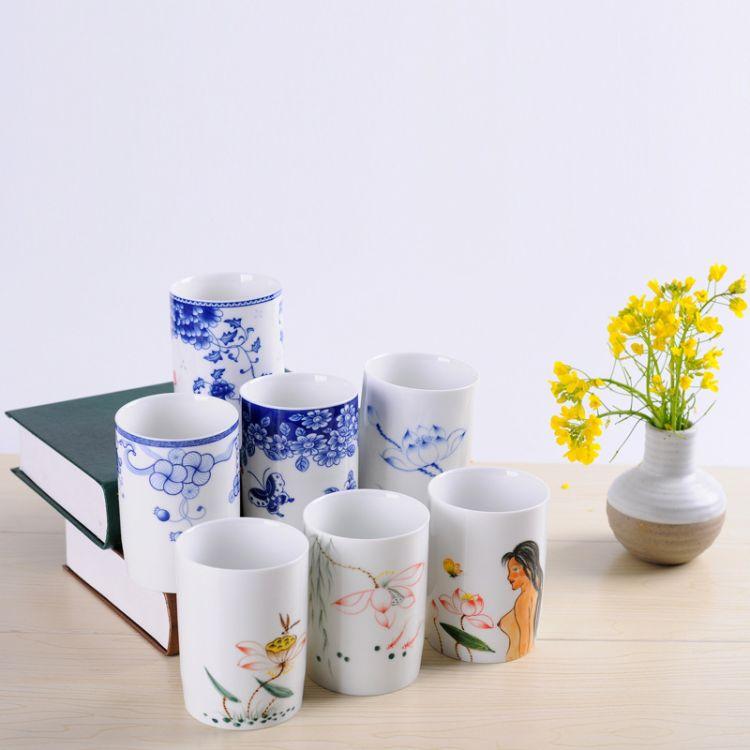厂家直销主人杯单杯品茗杯手绘功夫茶杯啤酒青花茶盏杯茶碗批发