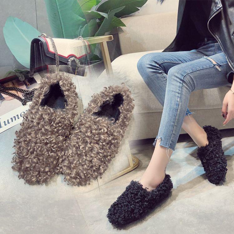 冬季韩版新款加绒毛毛鞋女懒人外穿棉鞋休闲时尚豆豆鞋卷毛平底鞋