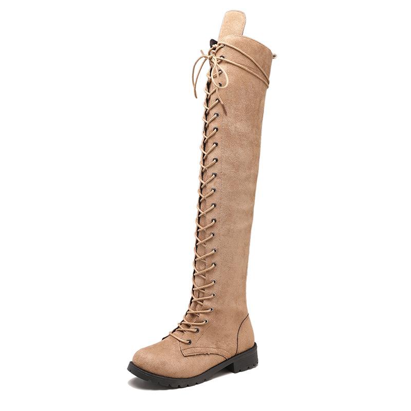 跨境外贸大码欧美马丁靴圆头方跟显瘦过膝长靴百搭骑士靴一件代发