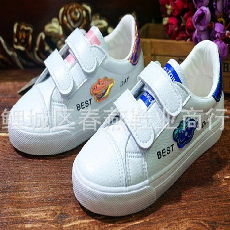2019春爆款儿童单鞋胶底超纤卡通男女小童24-30品牌小白鞋皮板鞋