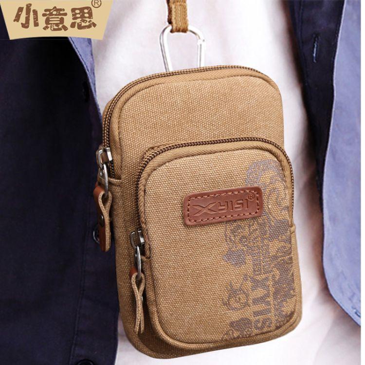 现货批发帆布6寸手机包男士穿皮带腰包 多功能迷你胸包小挂包包