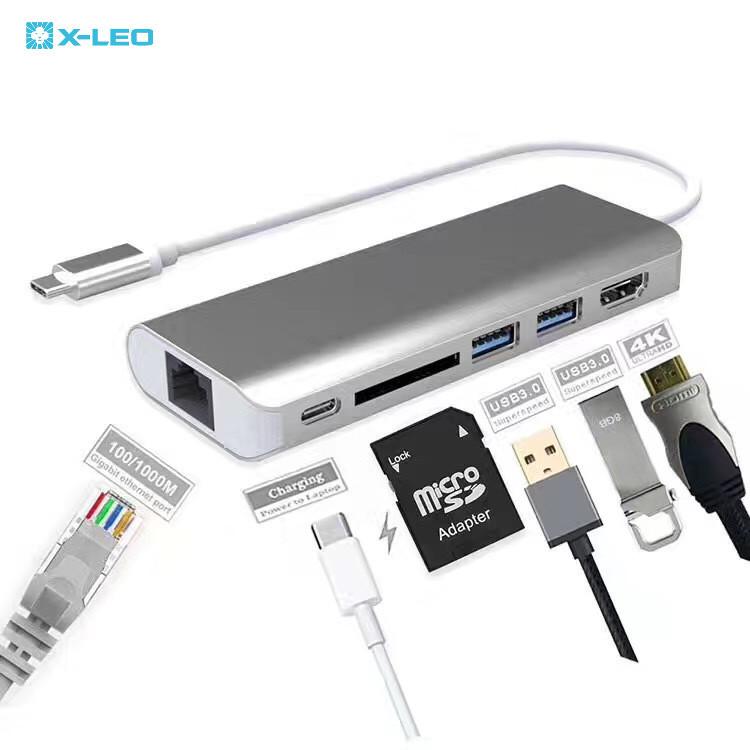 TYPE-Chub+充电USB 3.1 读卡器4k HDMI 铝合金网卡转换器 多合一