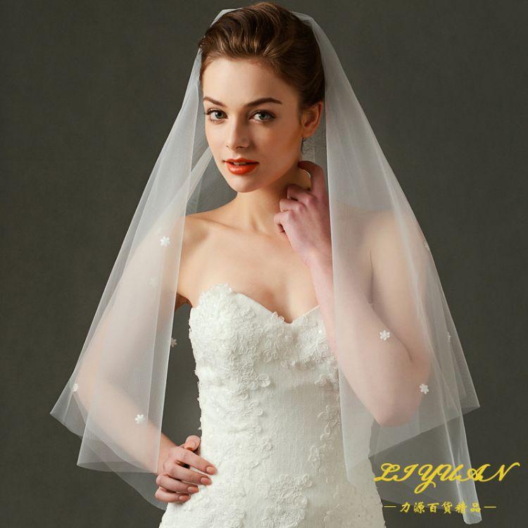厂家无发梳新款韩式新娘婚纱头纱面纱2401-805-1I