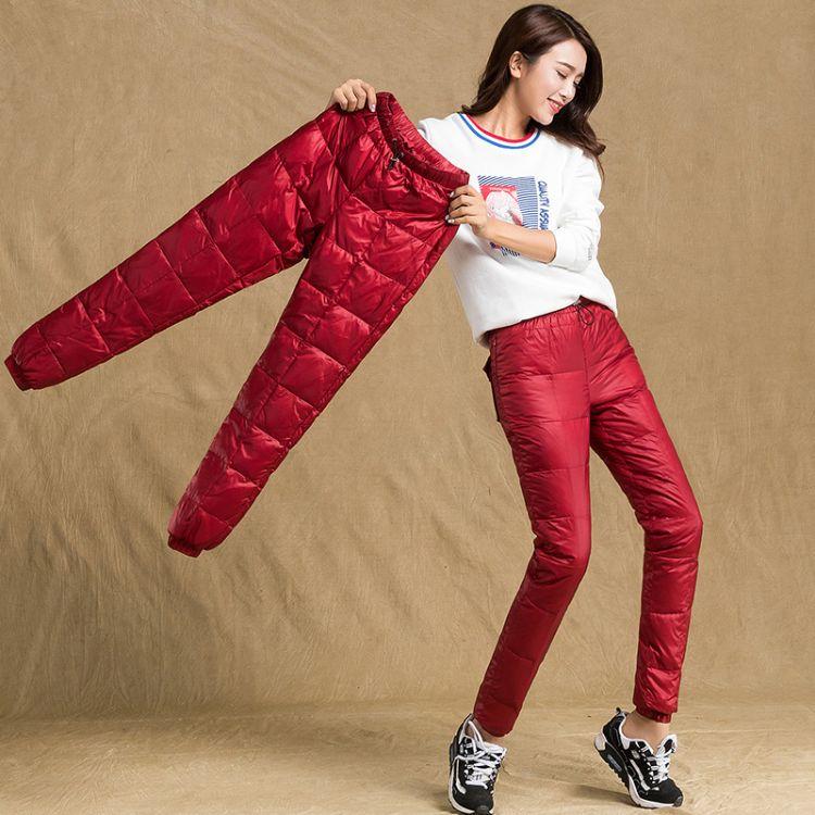 2018冬季新款白鸭绒羽绒裤女外穿高腰加绒加厚保暖弹力羽绒棉裤子
