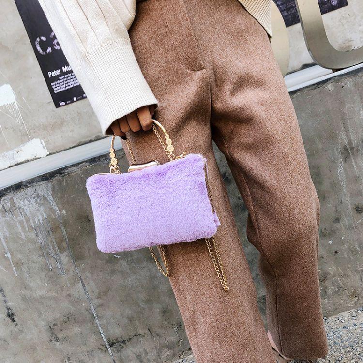 新款潮韩版时尚毛毛包仙女百搭链条单肩小包斜挎晚宴包化妆包