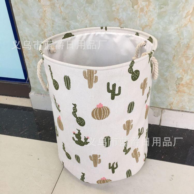 厂家直供可折叠洗衣篮棉麻加厚收纳桶可订做简约储物桶布艺脏衣篮