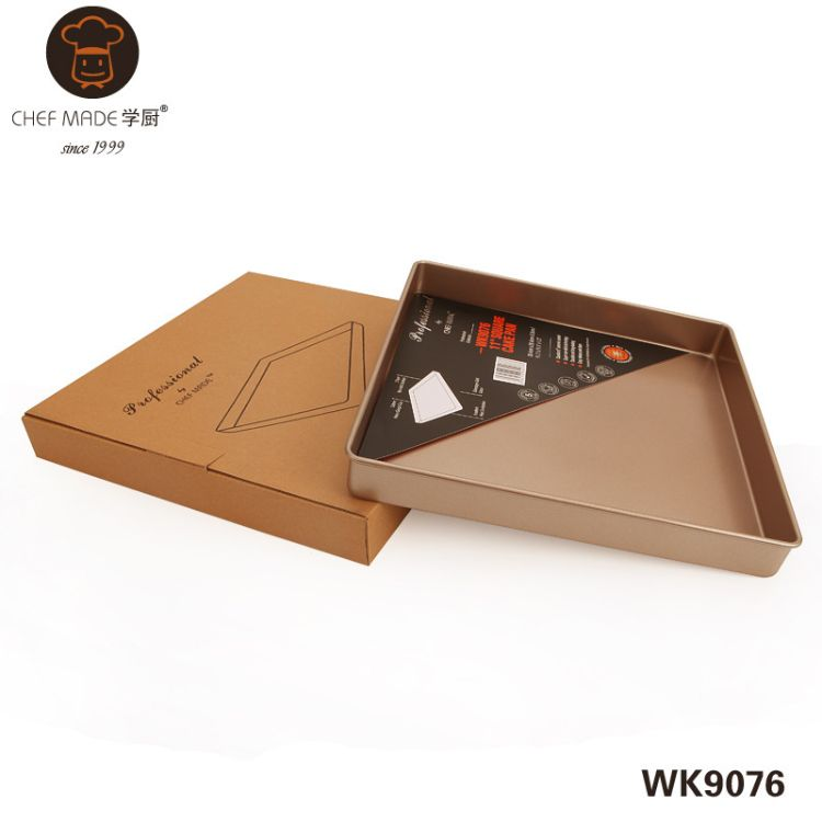 chefmade学厨 重型钢金色11寸正方形烤盘 蛋糕模烘焙模具 WK9076