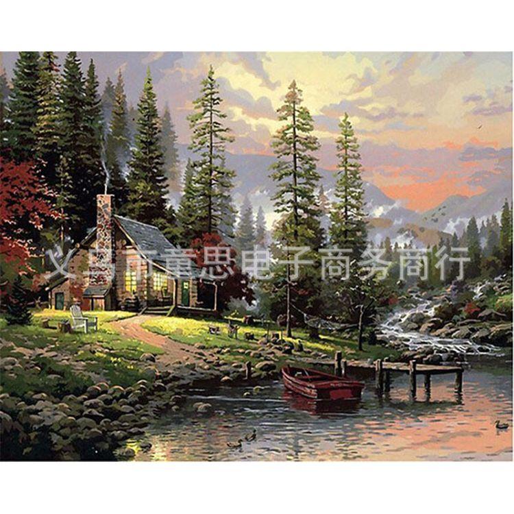 风景diy数字油画手绘油画手绘DIY油画欧式田园风景手绘油画沙滩