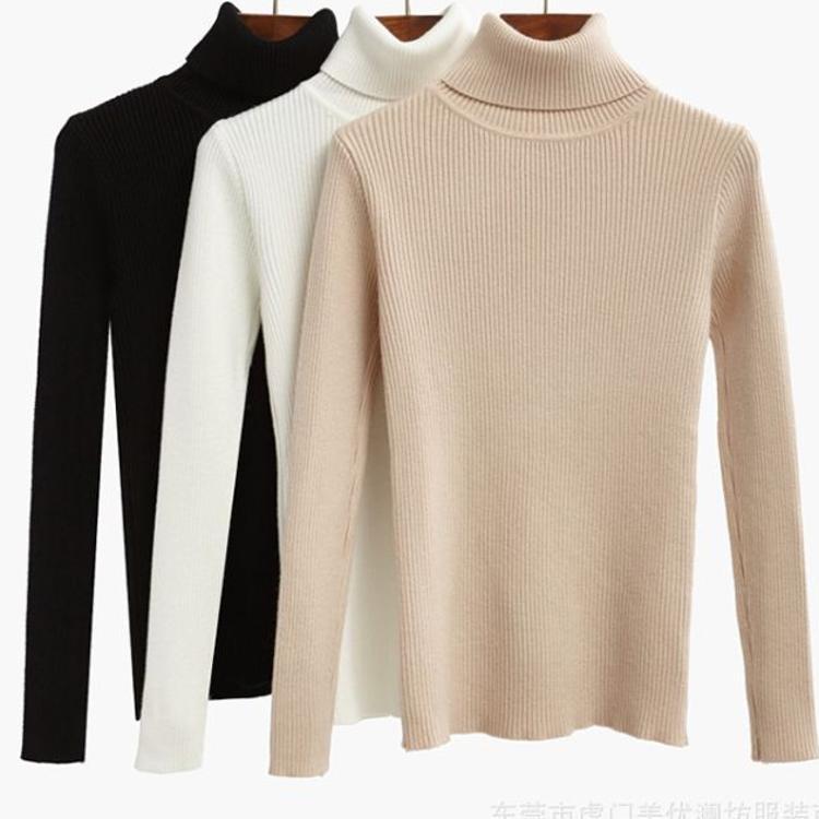 新款女装毛衣打底衫韩版女式高领羊毛衫女士坑条针织衫地摊批发