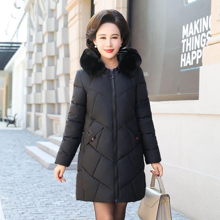 中老年女冬装羽绒棉服40岁50中年女妈妈装中长款棉衣冬季棉袄外套