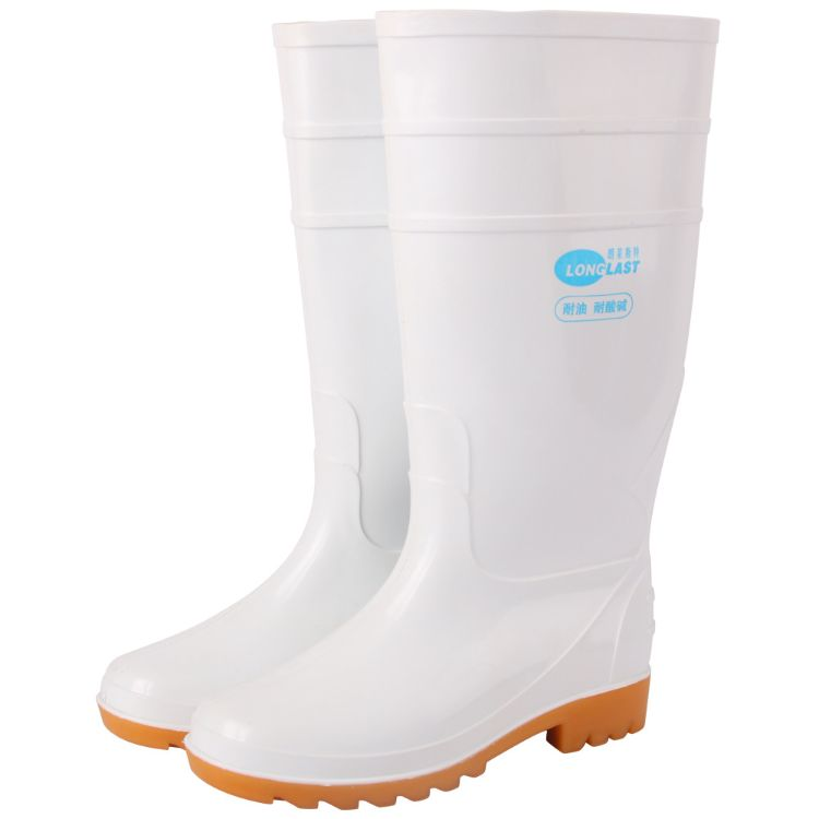 朗莱斯特白色耐酸碱食品靴 耐油耐酸碱 橡塑材质 防滑耐磨