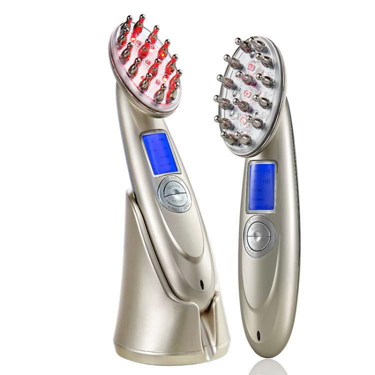 日本光头按摩梳射频激光美发仪批发RF EMS激光梳批发离子美发仪器