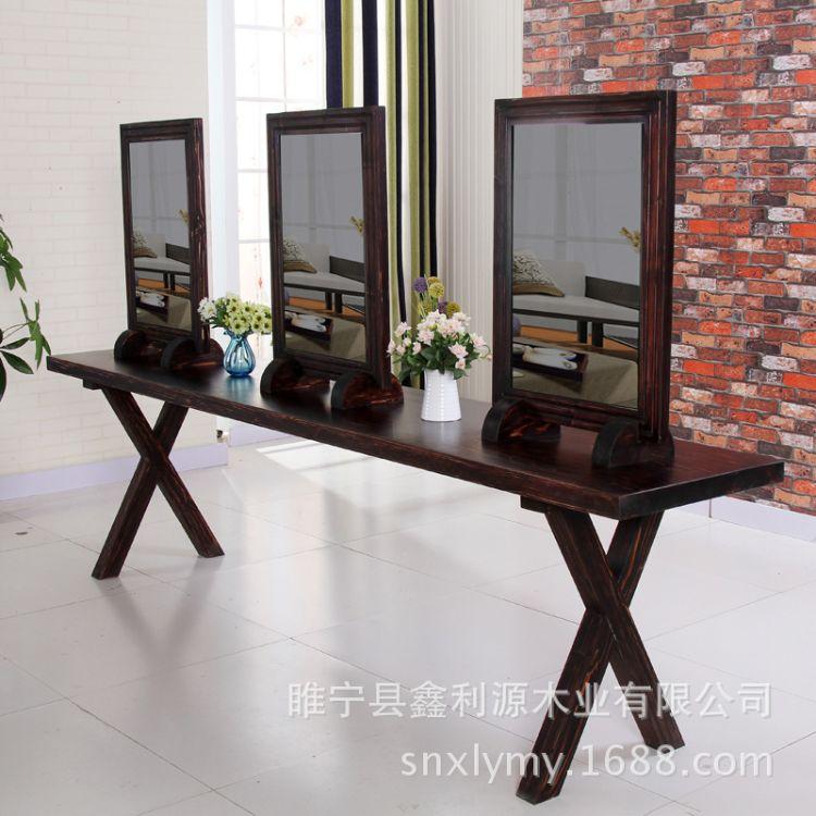 厂家直销复古实木发廊烫染台双面镜台理发店做旧四面镜台可定做