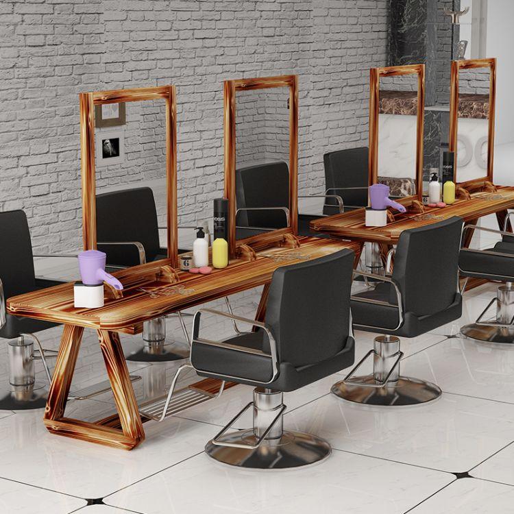 创意实木复古理发店镜子 美发店镜台单双面化妆镜发廊做旧烫染桌