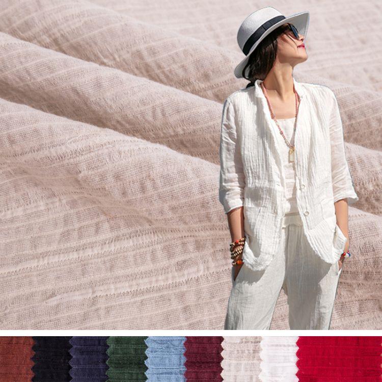 厂家直销秋冬亚麻布料条纹亚麻布提花面料染色沙发窗帘时装衬衫