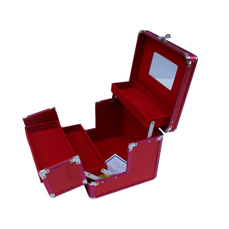 新款韩版专业红色化妆箱  大容量手提便携式箱 厂家直销可分销