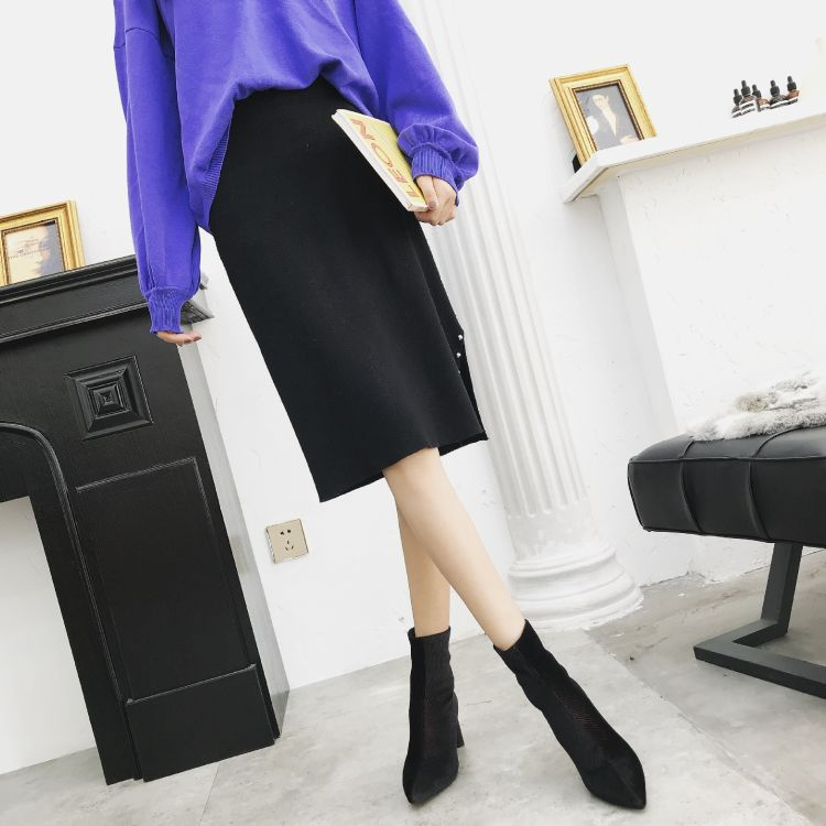 女2019新款中筒靴  进口韩国条纹绒女士靴子  厂家直销  现货批发